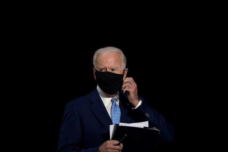 US Democratic presidential candidate Joe Biden's team is weighing public health concerns as it considers the prospects for in-person campaigning during the coronavirus pandemic, which upended American life during the 2020presidential election year leaves after speaking about the coronavirus pandemic and the economy on June 30, 2020, in Wilmington, Delaware. (AFP Photo/Brendan Smialowski)