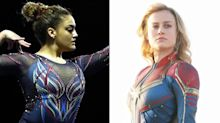 Brie Larson Gives Laurie Hernandez 'Stamp of Approval' After She Performs in Captain Marvel-Inspired Leotard