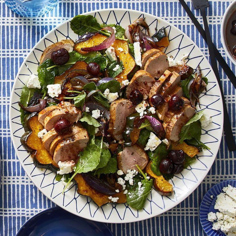 """<p>Salad is always a great gluten-free go-to, and this one loaded with squash, pork, and kale will leave you full and satisfied.</p><p><em><a href=""""https://www.womansday.com/food-recipes/food-drinks/a30394024/roasted-squash-pork-and-kale-salad-with-cherries-recipe/"""" rel=""""nofollow noopener"""" target=""""_blank"""" data-ylk=""""slk:Get the Roasted Squash, Pork, and Kale Salad With Cherries recipe."""" class=""""link rapid-noclick-resp"""">Get the Roasted Squash, Pork, and Kale Salad With Cherries recipe.</a></em></p>"""
