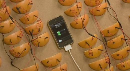 How many oranges does it take to charge an Apple? (video)