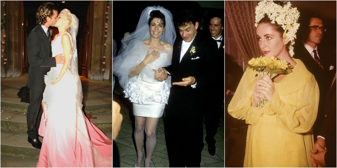 The 16 most unique wedding dresses ever from bianca jaggers low cut skirt suit to gwen stefanis ombre pink gown the ombrellifo Choice Image