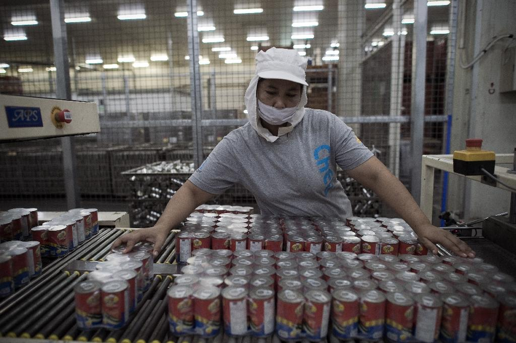 A worker checks canned fish at the Anusorn Group factory in Tasai, on the outskirts of Bangkok (AFP Photo/Nicolas Asfouri)