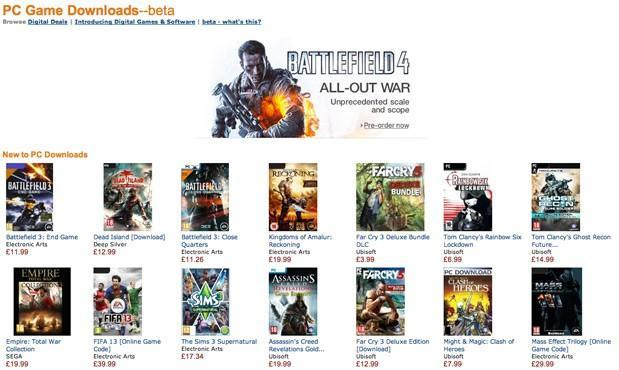 Amazon now offering games and other software for download in the UK