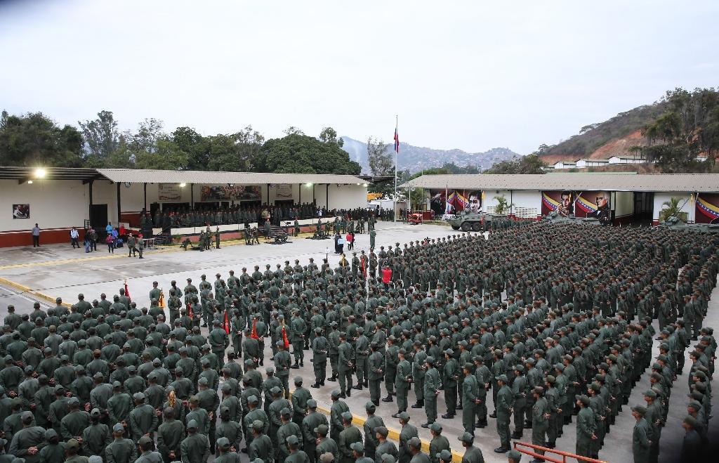 The military's support is crucial in determining whether Maduro can hold on to power (AFP Photo/Marcelo GARCIA)