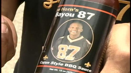 Former Saints star shows off barbecue sauce