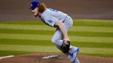 Dodgers starter May hit on foot by grounder, exits early