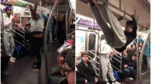 【有片】地鐵車廂露兩手 紐約跳舞勁人技癢表演