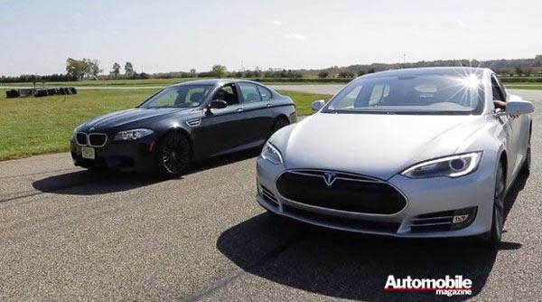 Video: Tesla Model S verbläst BMW M5 beim Drag Race