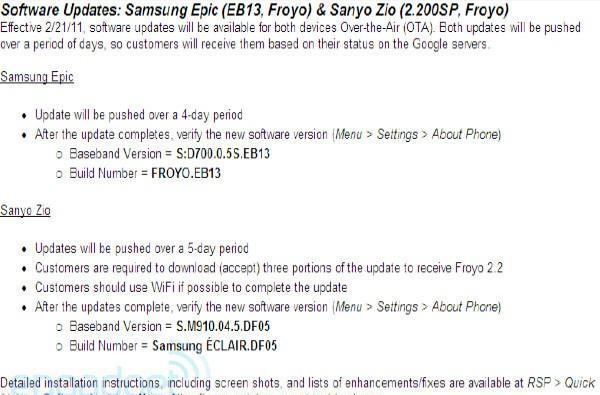 Sprint's Samsung Epic 4G and Sanyo Zio signed up for Froyo next week?