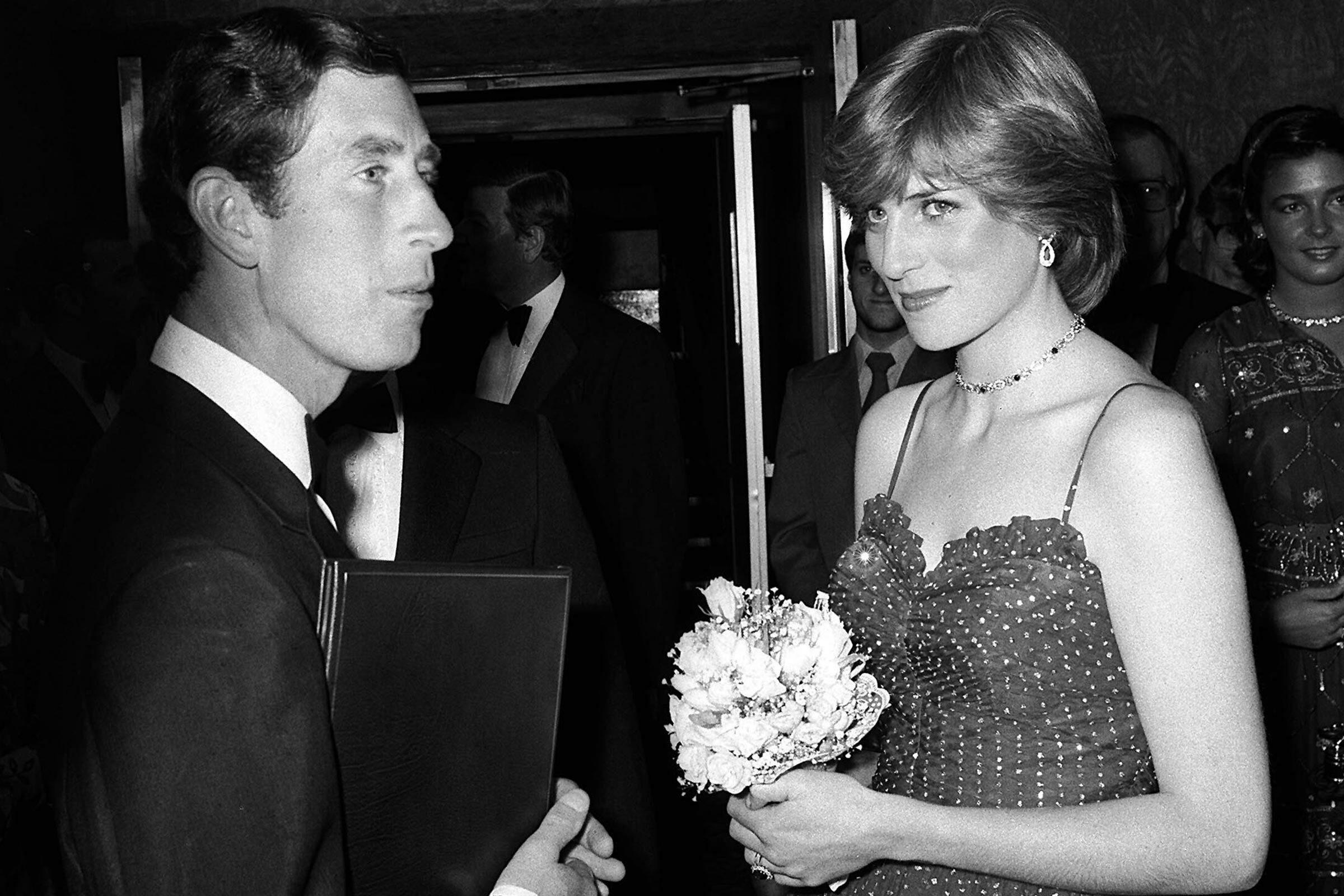 Diana and Charles pictured at a glamorous evening event.