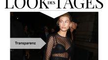 Look des Tages: Hailey Baldwin im transparenten Polka-Dot-Kleid