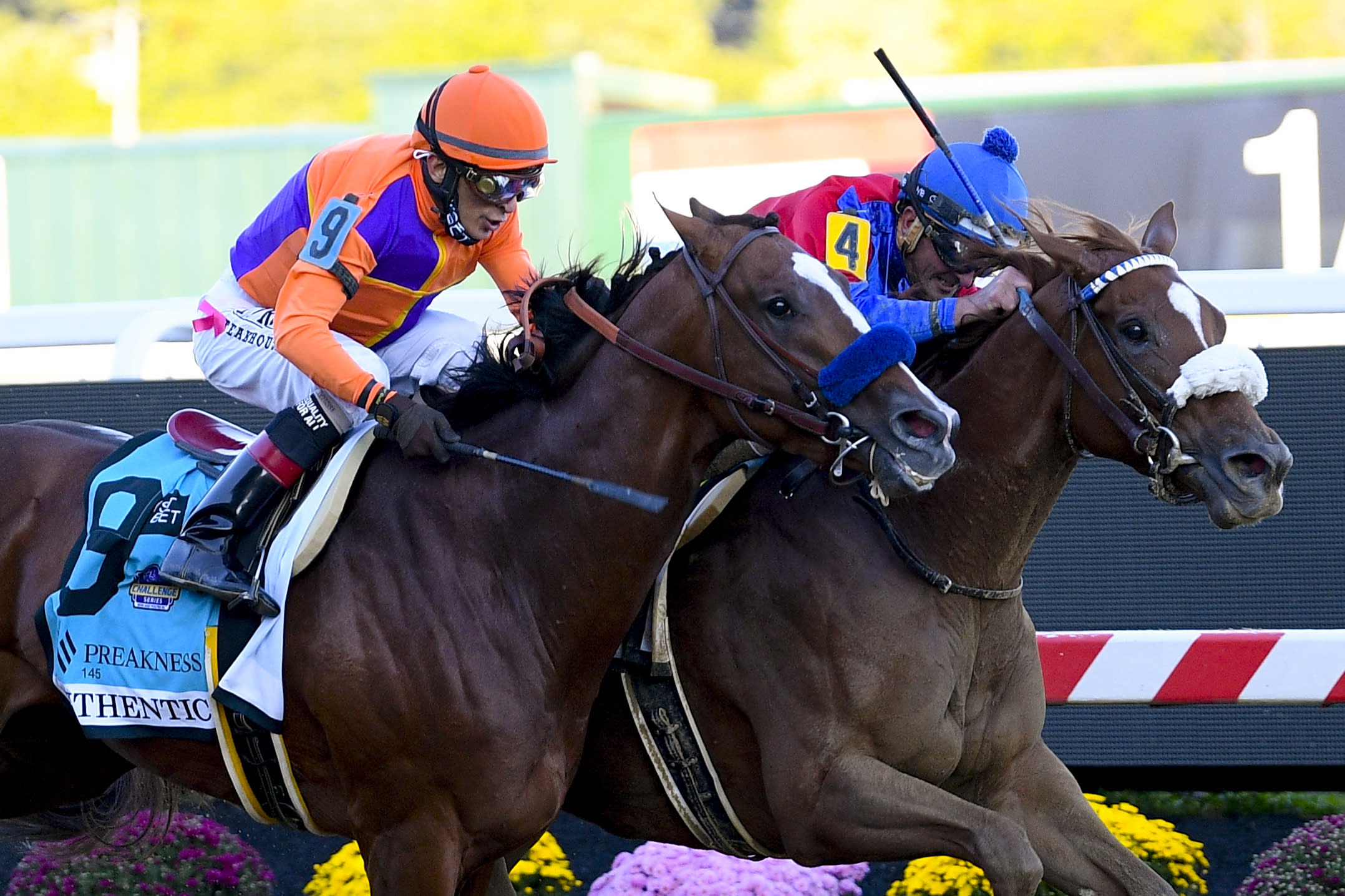 Swiss Skydiver, right, ridden by Robby Albarado, leads Authentic, ridden by John Velazquez, to win the 145th Preakness Stakes horse race at Pimlico Race Course, Saturday, Oct. 3, 2020, in Baltimore. (AP Photo/Nick Wass)