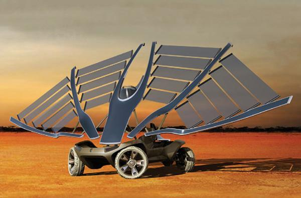 Helios solar concept car is bird-like in that it evolved from lizards, has wings