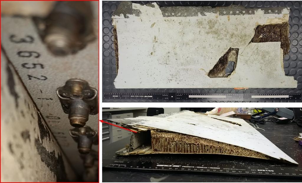 A trailing edge section of Boeing 777 left, outboard flap, originating from the Malaysian Airlines aircraft registered 9M-MRO (MH370), the Australian Transport Safety Bureau said (AFP Photo/)