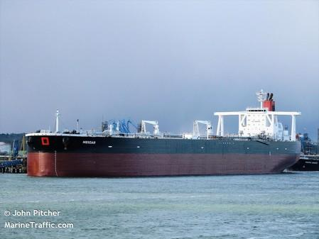 Undated photograph shows the Mesdar, a British-operated oil tanker in Fawley