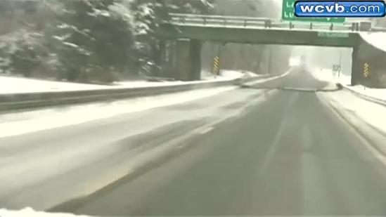 Heavy, wet snow causes slippery road conditions