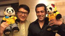 Tough guys Jackie Chan and Salman Khan pose with a cutesy UNICEF Mascot