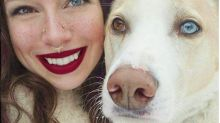 Picture of Woman and Dog with Matching Mismatched Eye Color Stuns Internet