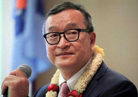 FILE PHOTO: Cambodian opposition leader Sam Rainsy delivers a speech to members of the CNRP at a hotel in metro Manila, Philippines