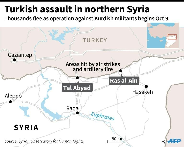 Map locating Ras al-Ain and Tal Abyad in northern Syria (AFP Photo/Gal ROMA)