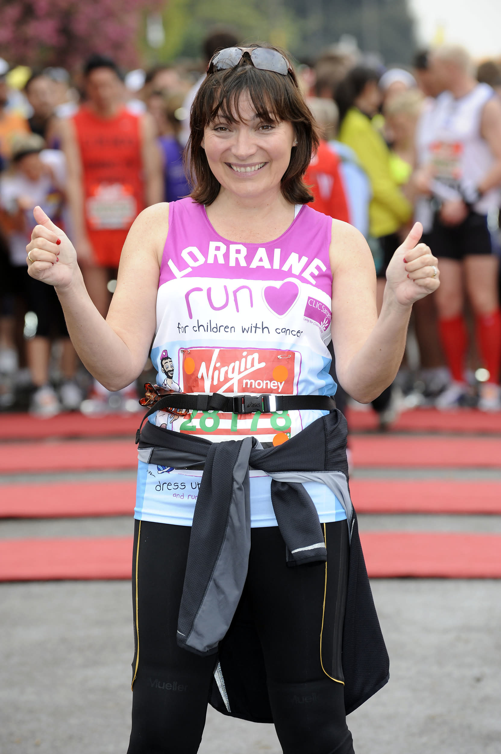 Lorraine Kelly is seen at the start of the 2010 London Marathon, at Blackheath in south London.