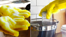 """These """"Magic"""" Silicone Dishwashing Gloves Come With A Scrubber Attached So You Can Clean Twice As Fast"""