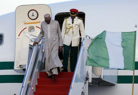 Nigeria's President Buhari arrives on his official plane to attend the upcoming Nuclear Security Summit meetings in Washington on the tarmac at Joint Base Andrews, Maryland