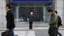 Europe lift sends world stock gauge to record; Wall Street dips