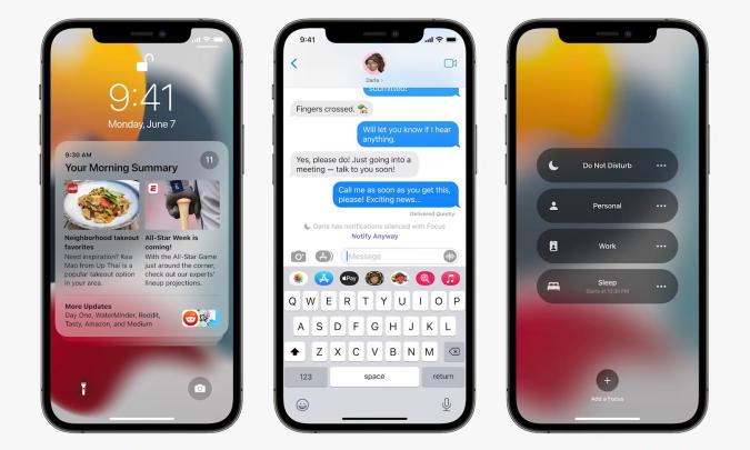 Apple iOS 15 Focus notifications