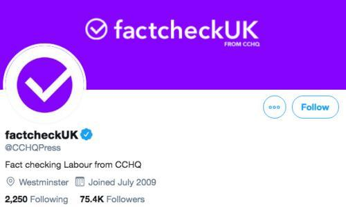 Tories tweet anti-Labour posts under 'factcheckUK' brand