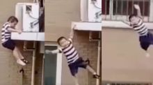 Tot falls from fourth-floor ledge, into the arms of a neighbour