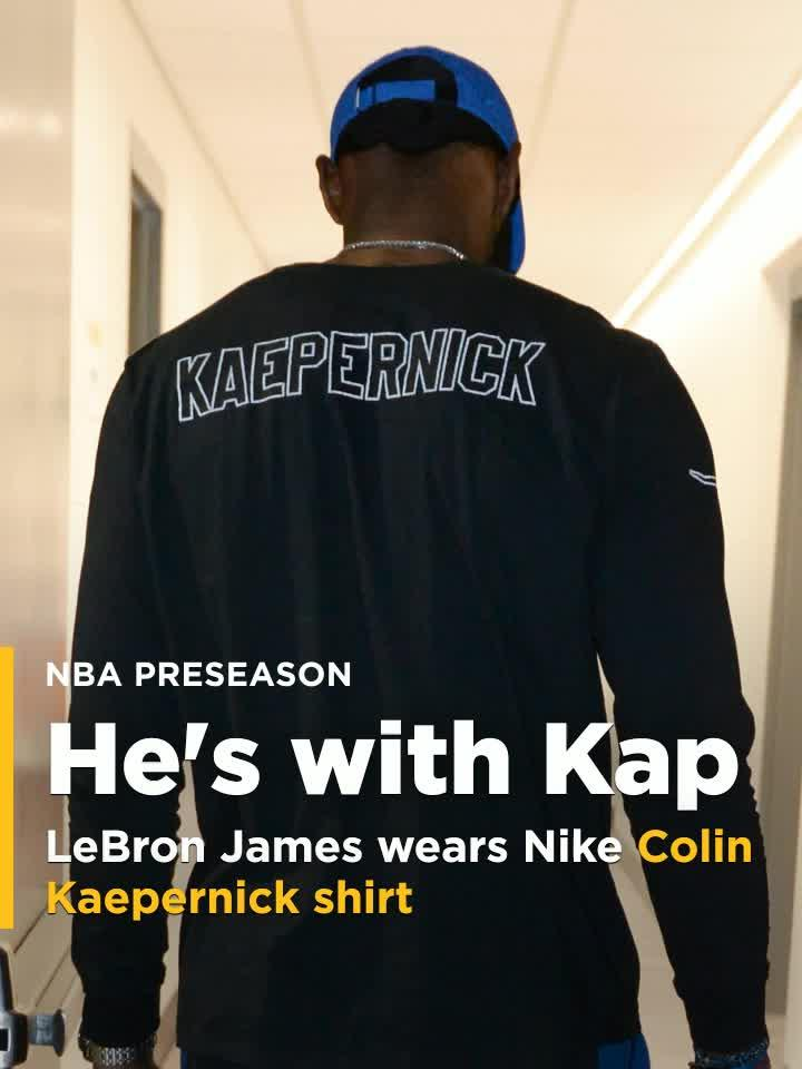 ec8a6258 LeBron James rocks Nike Colin Kaepernick shirt before preseason game [Video]