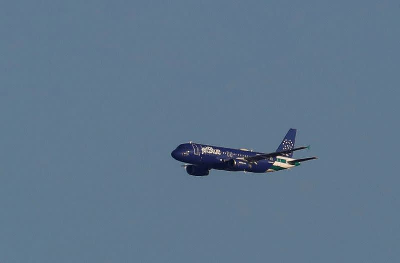 FILE PHOTO: A JetBlue A320 aircraft conducts a flyover salute of New York City to honor frontline healthcare workers during the outbreak of the coronavirus disease (COVID-19) as seen from Weehawken