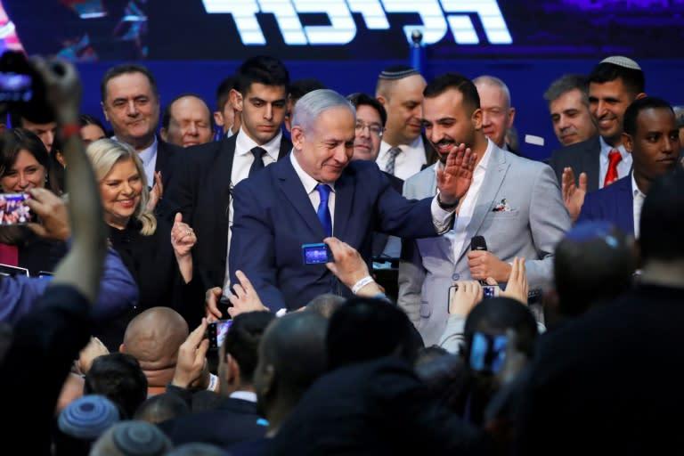 Israeli Prime Minister Benjamin Netanyahu hailed the election as a 'giant' success (AFP Photo/Jack GUEZ )