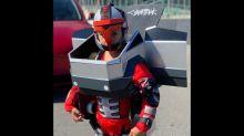 Kid shows off epic Cybertruck Transformer Halloween costume