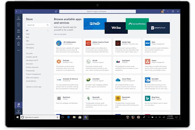 Microsoft's Slack rival helps you find and use apps