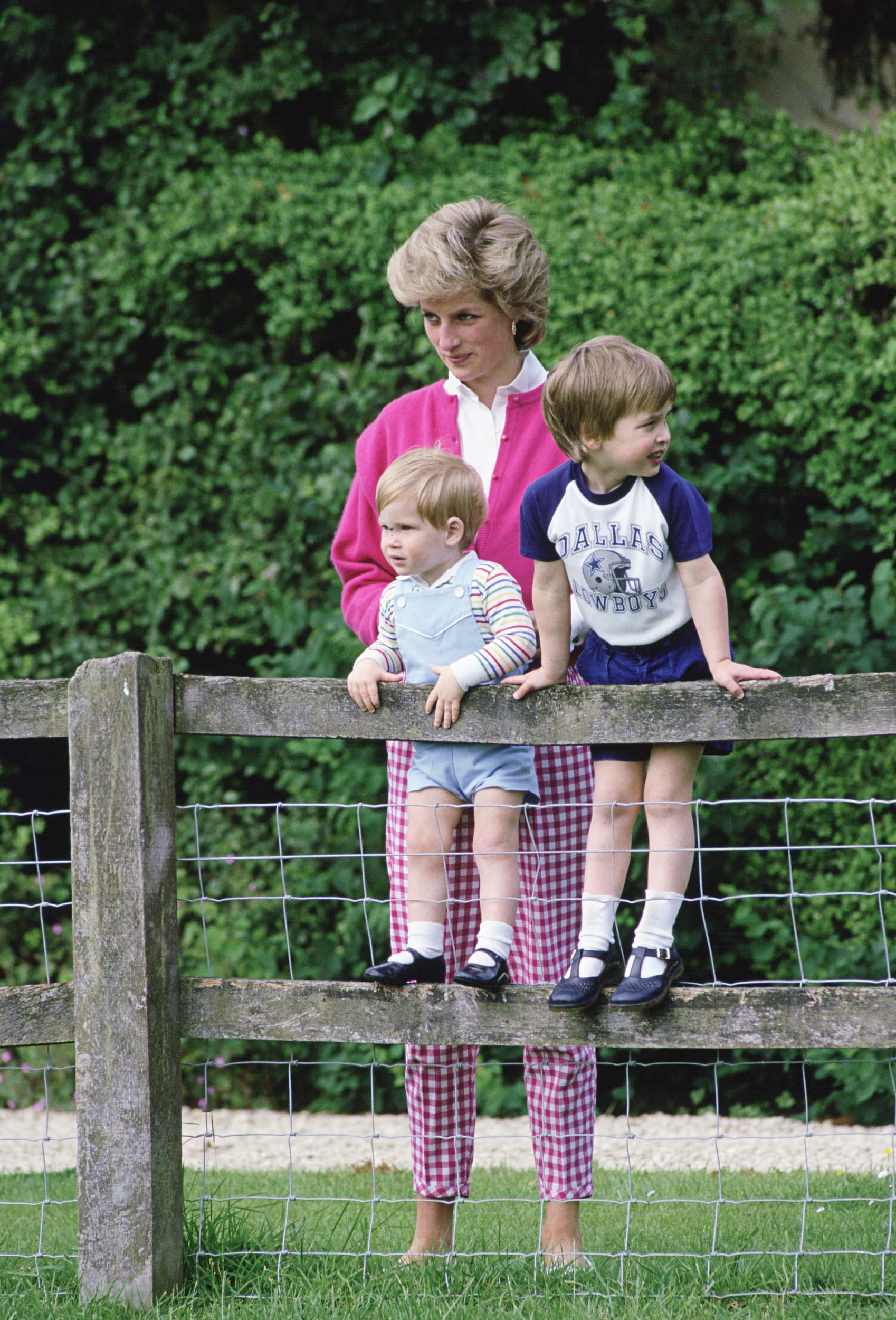 TETBURY, UNITED KINGDOM - JULY 18:  Diana, Princess Of Wales With Her Sons, William And Harry In The Grounds Of Highgrove In Tetbry, Gloucestershire  (Photo by Tim Graham/Getty Images)