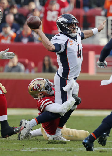 Undermanned, overmatched Broncos fall behind, lose to 49ers