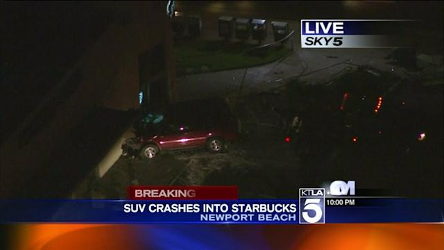 SUV Slams into Starbucks Coffee Shop in Newport Beach