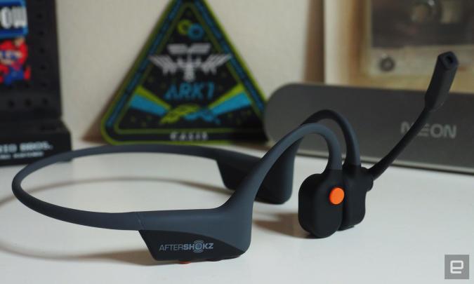 AfterShokz OpenComm office-oriented open-ear headphones.