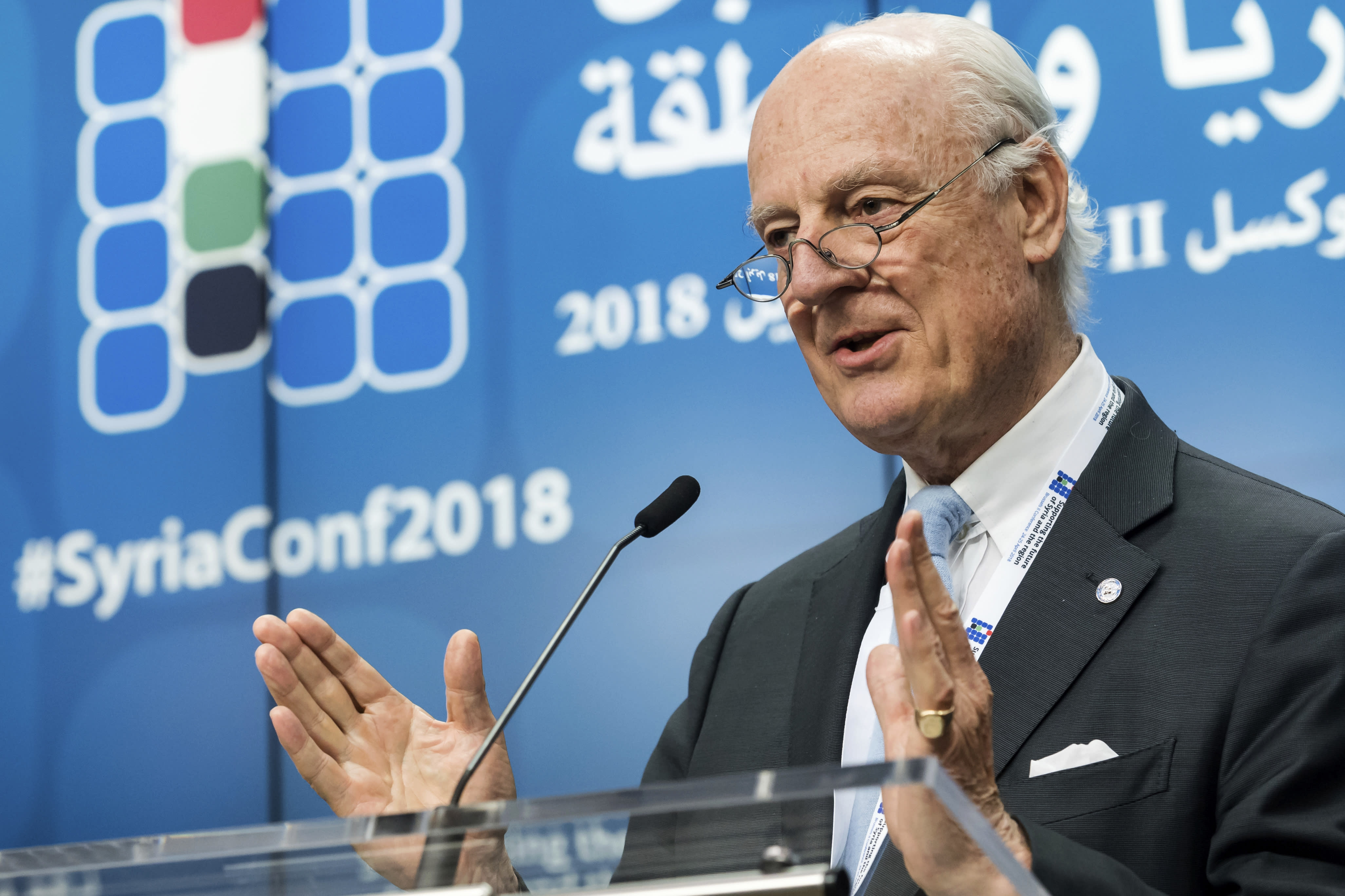 """FILE - In this April 25, 2018, file photo, UN Special Envoy of the Secretary-General on Syria Staffan de Mistura addresses the media during a conference 'Supporting the future of Syria and the region' at the EU Council in Brussels. Fearing a military offensive, the U.N. envoy for Syria proposed Thursday, Aug. 30, that civilians holed up in the rebel-held region of Idlib could evacuate to government-held areas, a move that would in essence send many back into parts of Syria they once fled in its 7-1/2-year-old war. De Mistura expresses fears of a """"perfect storm"""" that could have a devastating impact on nearly 3 million people, nearly half of whom arrived from elsewhere in Syria, in the region largely controlled by al-Qaida-linked fighters. (AP Photo/Geert Vanden Wijngaert, File)"""