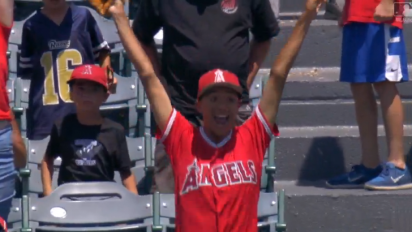 Angels fan completely loses his mind after catching a Mike Trout home run
