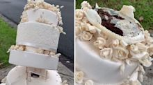 Six-tier wedding cake mysteriously found on side of road