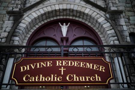 FILE PHOTO: The Divine Redeemer Catholic Church is seen in Mt. Carmel, Pennsylvania, U.S., August 17, 2018. REUTERS/Carlos Barria