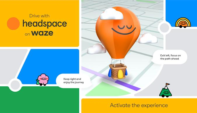 A graphic depicting the Headspace mindfulness experience in the Waze driving app.