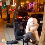 Man wearing Easter Bunny costume breaks up brawl to defend woman