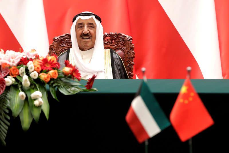 FILE PHOTO: Kuwait's Emir Sheikh Sabah Al-Ahmad Al- Jaber Al-Sabah witnesses a signing ceremony at the Great Hall of the People in Beijing