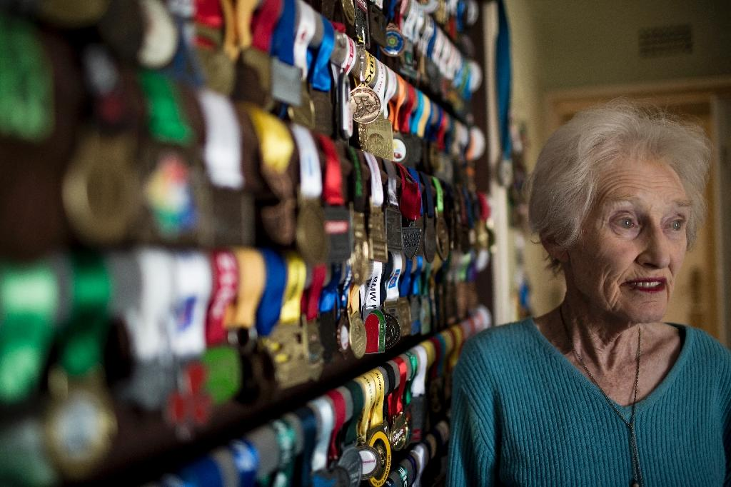 Deirdre Larkin, with some 500 medals for running, only took up the sport at age 78 (AFP Photo/GULSHAN KHAN )
