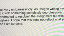 College student forgets to fix a placeholder name in essay, but luckily the professor acknowledged her creativity