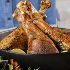 Lemon-Thyme Roasted Turkey Legs with Almond Butter Gravy